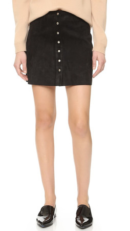 T By Alexander Wang Stretch Suede Miniskirt - Black