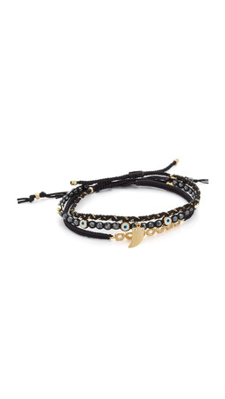 Tai Evil Eye Stacked Bracelets - Black