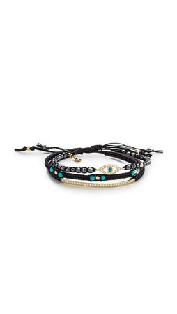 Tai Evil Eye Trio Bracelet - Black/Gold