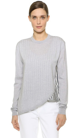 Tibi Asymmetrical Woven Mixed Pullover - Heather Grey Multi
