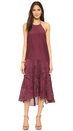 Tibi Circular Flared Dress - Plum
