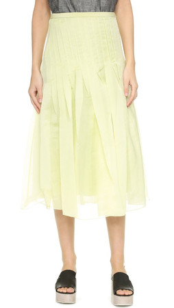 Tibi Isa Pleated Skirt - Celery