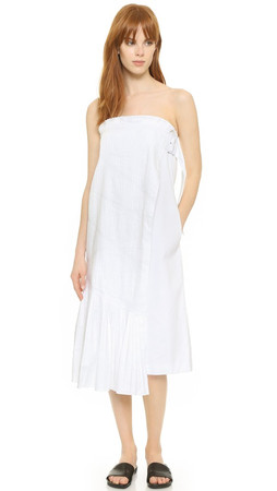 Tibi Manuella Strapless Dress - White