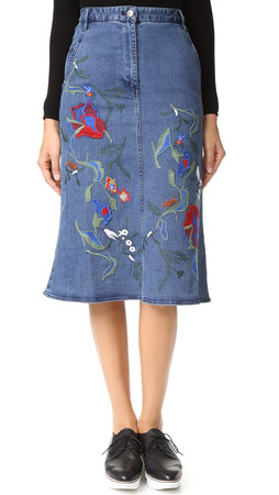 Tibi Marisol Embroidered Front Slit Denim Skirt - Vintage Denim