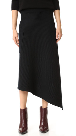 Tibi Merino Ribbed Origami Wrap Skirt - Black