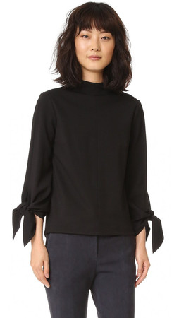 Tibi Mock Neck Tie Sleeve Top - Black