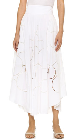 Tibi Neutron Embroidered Skirt - White Multi