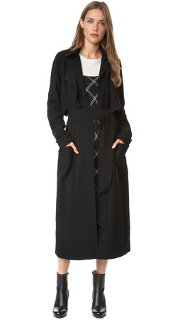 Tibi Soft Trench Coat - Black