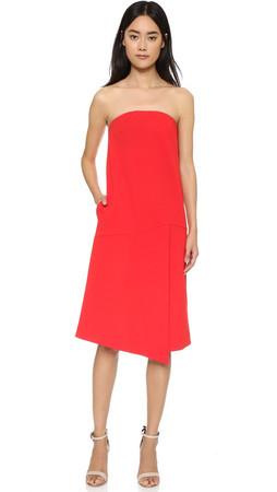Tibi Structured Strapless Dress - Scarlet Red