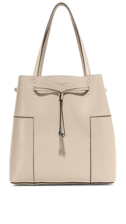 Tory Burch Block T Bucket Tote - French Grey