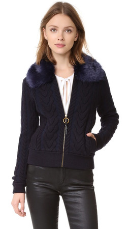 Tory Burch Contraire Knit Bomber Jacket - Medium Navy
