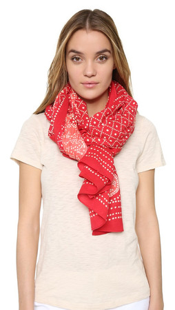 Tory Burch Crab Print Scarf - Brilliant Red