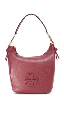 Tory Burch Harper Zip Hobo Bag - Dark Merlot