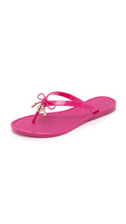 Tory Burch Jelly Bow Thong Sandals - Saucy Pink