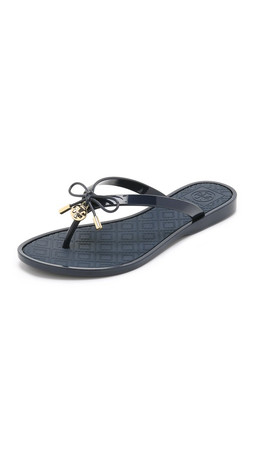 Tory Burch Jelly Bow Thong Sandals - Tory Navy