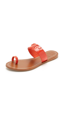 Tory Burch Marcia Toe Ring Slides - Poppy Red