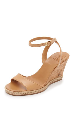 Tory Burch Marion Quilted Wedge Sandals - Sand