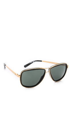 Tory Burch Modern Stacked Sunglasses - Gold Black/Green