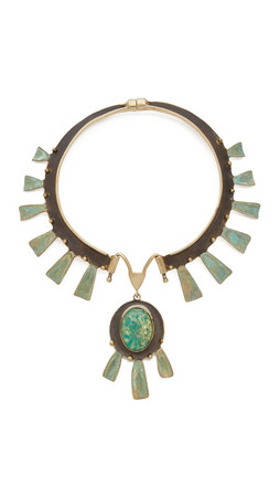 Tory Burch Oxidized Statement Collar Necklace - Green/Oxidized Gold