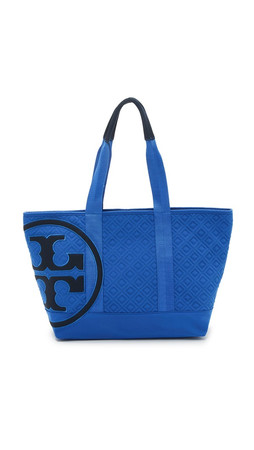 Tory Burch Penn Quilted Small Zip Tote - Blue Macaw