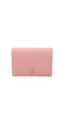 Tory Burch Robinson Medium Flap Wallet - Rose Sachet