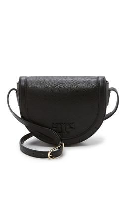 Tory Burch Serif T Saddle Bag - Black
