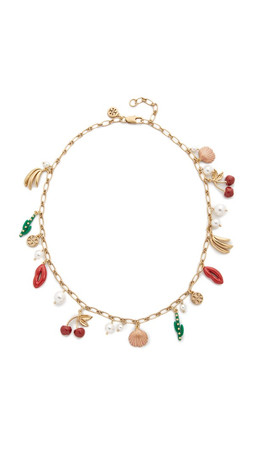 Tory Burch Sylvan Rosary Necklace - Multi/Worn Shiny Brass