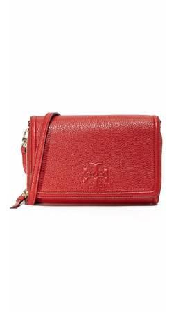 Tory Burch Thea Flat Wallet Crossbody Bag - Rust Red