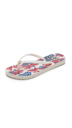 Tory Burch Thin Flip Flops - Ivory/Oversized Floral