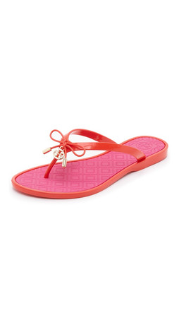 Tory Burch Two Tone Jelly Bow Thong Sandals - Brilliant Red/Saucy Pink