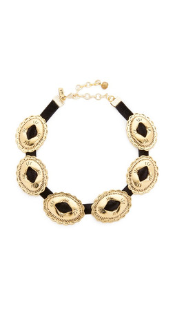 Vanessa Mooney Concho Choker Necklace - Black/Gold
