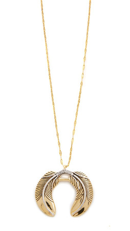 Vanessa Mooney The Honey Rider Double Feather Necklace - Gold