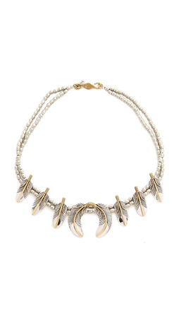 Vanessa Mooney The Honey Rider Feather Statement Necklace - Silver