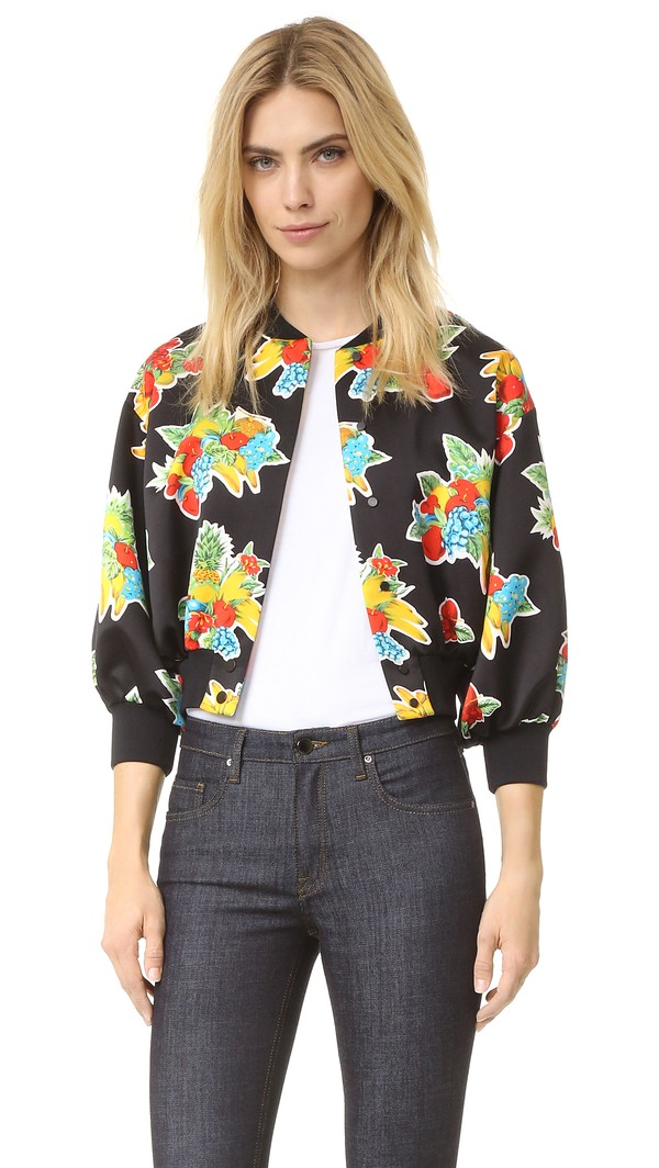 Victoria Victoria Beckham Printed Crop Bomber Jacket - Fruit Basket Mini