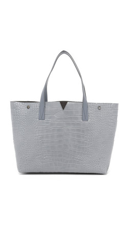 Vince Croc Embossed Medium Tote - Chambray