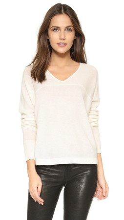 Vince Long Sleeve V Neck Sweater - Off White
