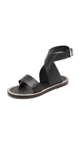 Vince Mailin Flat Sandals - Black