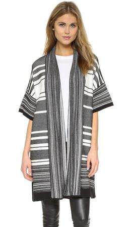 Vince Multi-Stripe Cardigan Sweater - Black/Off White