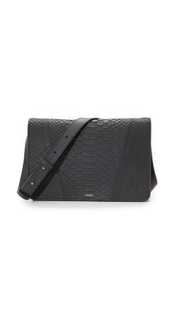 Vince Stamped Python Shoulder Bag - Black