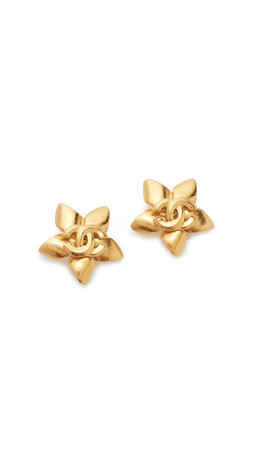 What Goes Around Comes Around Chanel Cc On Star Earrings (Previously Owned) - Gold