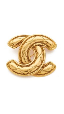 What Goes Around Comes Around Chanel Large Quilted Cc Pin - Gold