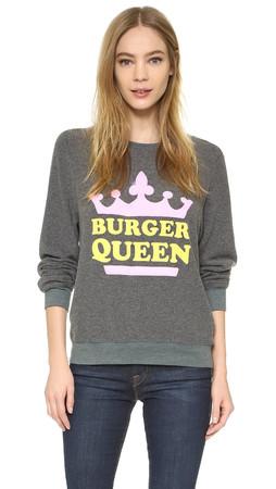 Wildfox Burger Queen Baggy Beach Sweatshirt - Dirty Black