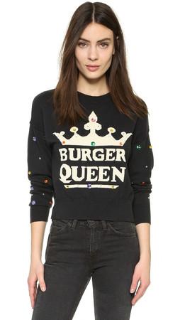 Wildfox Burger Queen Celeste Sweater - Dirty Black