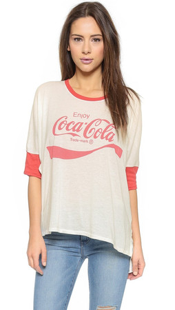 Wildfox Coca Cola Morning T-Shirt - Vintage Lace/India Poly