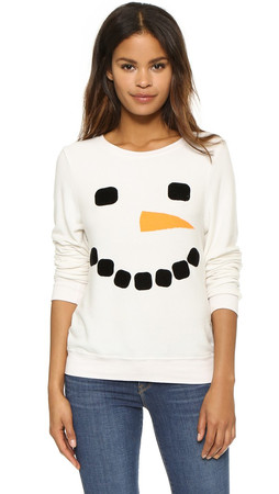 Wildfox Frosty Face Baggy Beach Jumper - Vintage Lace