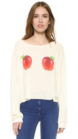Wildfox How Do You Like Them Apples Luca Crop Sweatshirt - Pearl