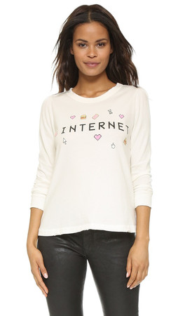 Wildfox It'S An Addiction Internet Roadtrip Tee - Pearl