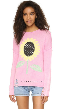 Wildfox Sunflower Bloomy Sweater - Party Girl Pink