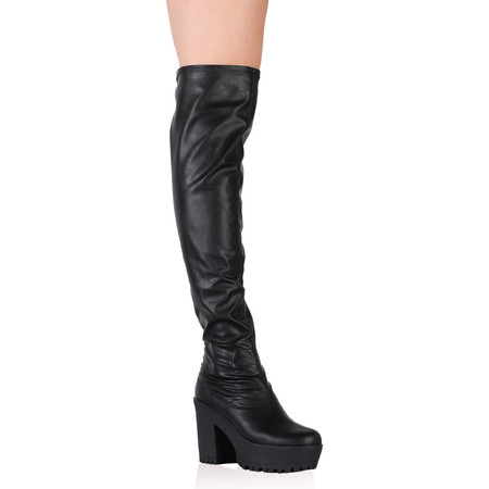 Amie Black Over The Knee Chunky Boots