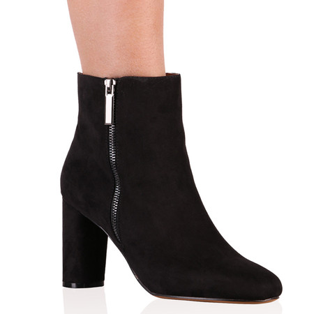 Cassidy Ankle Boots in Black Faux Suede